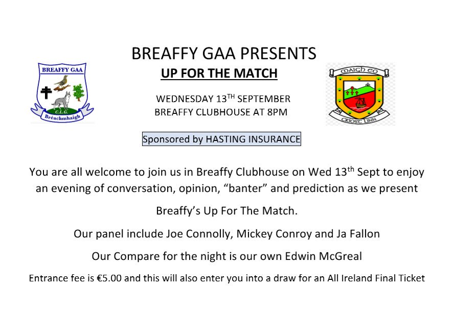 breaffy gaa up forthe match